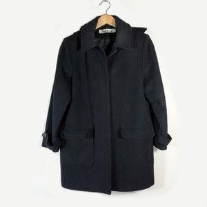 Alfred Dunner 100% Wool Long Black Coat